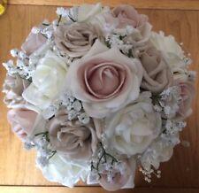 Wedding Flowers  Ivory / Latte Blush Roses  & Burlap Ribbon Bouquet & Buttonhole