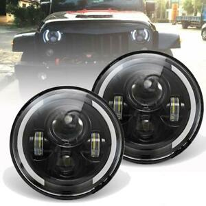 """DOT Approved Pair 7"""" Round LED Headlight Hi/Lo Beam For Chevy Pickup Truck 3100"""