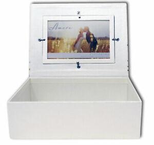 Photo on & inside Lid Little Hearts Wedding Day Keepsake Box Memory Anniversary