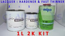 1L 2K CLEAR COAT LACQUER HARDENER FAST V10 THINNER 1 LITRE KIT ACRYLIC CAR PAINT