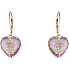 14 k rose gold Rose de France quartz & .06 CTW hart earrings