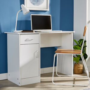 White Desk 1 Drawer 1 Door Compact Computer Workstation Home Office Table Tyler