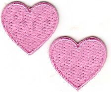 """SET OF 2 PINK HEARTS (1"""") - Iron On Embroidered Patch - Heart-Miniature-Love"""