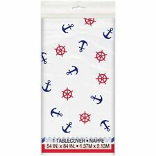 SUMMER Nautical Anchors PLASTIC TABLE COVER ~ Birthday Party Supplies Decoration