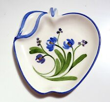 Los Angeles Potteries - Apple Shaped Dish w/ Blue Flowers
