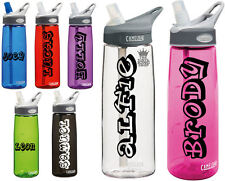 2 x Personalised Name Stickers - Drinks Bottle Gym Bike Water Planet Font Sports