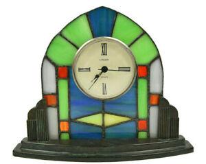 Rare LINDEN Stained Glass Art Deco Quartz Table Desk Mantel Clock Metal Base