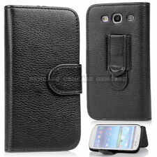 Card Holder Leather Holster Wallet Pouch Case Clip for Samsung Galaxy S3 - Black