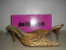 DOLLHOUSE Ling Gold Beaded/Sequin Pointy Toe Pumps Heels Mules Shoes - Size 7.5