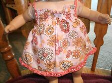 Handmade Bitty Baby Girl pink flower printed sun dress w ruffled panties 425