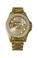 Haurex Italy Women's XK374DCC Ink Stones Gold Tone Aluminum Crystal Date Watch