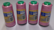 BIRCH POLYESTER OVERLOCKER THREAD 2500MT : PINK - PACK OF 4  SPOOLS