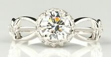 Deco Pretty EngagementRing 925 Sterling Silver 2.85Ct White Round Cz Vintage Art