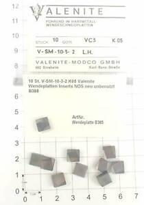 10 St. V-SM-10-3-2 K05 Valenite Wendeplatten Inserts NOS neu unbenutzt B385