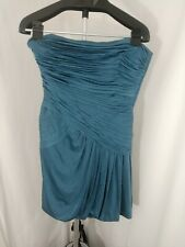 BCBG Pleated Asymmetrical Bubble Skirt Strapless Teal Dress