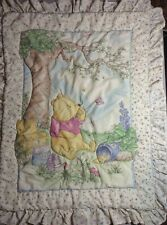 Vintage Disney Classic Winnie the Pooh Crib Comforter Baby Blanket Hunny Quilt