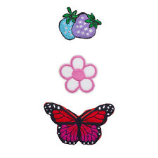 Novelty Iron Patches Set (3Pcs) Lux Accessories Strawberry, Flower, Butterfly