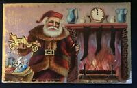 SANTA Claus with Toys~Stockings at Fireplace Antique Christmas Postcard-s815