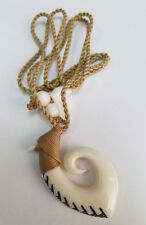 Hawaiian Hand carved Polynesian White Buffalo Swirl Fish Hook Pendant Necklace