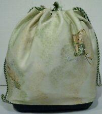 Drawstring Basket Bottom Bag Tote Green Japanese Design Fabric