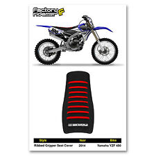 2014 YAMAHA YZF 450 SEAT COVER Ribbed GRIPPER Black/Red Ribs by Enjoy MFG