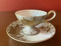 Hand-painted Footed Demitasse Teacup & Saucer -Occ. Japan-Gray/Gold/White/Purple