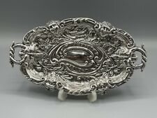 More details for rare victorian gothic london 1893 solid silver trinket tray-51g-charles boyton