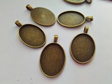 6 Bronze Oval Pendant Settings - Fits 18x25 mm Cabochons - Bezel Tray Blanks
