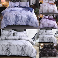 Marbled Duvet Quilt Cover Soft Comforter Set Bedding Bedroom Single Double King