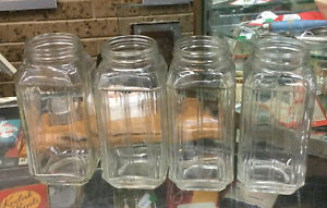 Vintage Lot Of Four Clear Depression Glass Canisters No Lids 20cm High