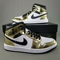 Nike Air Jordan 1 Mid SE Metallic Gold Shoes Mens Size 8 Black Womens SZ 9.5