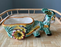 VINTAGE 1950's HAnd Painted  Porcelain Donkey & Cart Planter Kitchy
