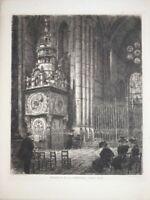 RARE Gravure Eau Forte Originale Joannès DREVET CATHEDRALE SAINT JEAN LYON 1900