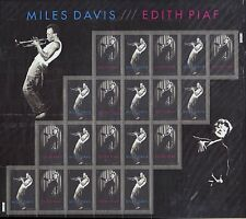 US SCOTT #4692-4693 MILES DAVIS EDITH 2012 FOREVER STAMPS SHEET OF 20 MNH