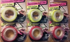 Removable Highlighter Tape 3/8 inx392in 6 pieces, pink, yellow