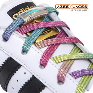 Lazee Laces™ Modern Metallic Rainbow Colorful Fun Magnetic No-Tie Shoelaces
