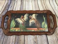 Vintage Mexican Folk Art Feathercraft Cockfight Hand Carved Wood Frame Tray 23""