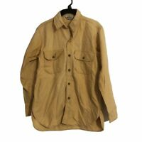 Woolrich Vintage Mens Small Midweight Chamois Solid Beige Button Front Shirt