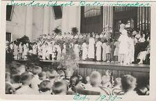 SINGAPORE Postcard SUNDAY SCHOOL RALLY Oct 1933 Real Photo RPPC church organ