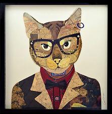 Scatt matto 3D Collage Arte Pittura Soggiorno Mural Gatto Occhiali Giacca Volare