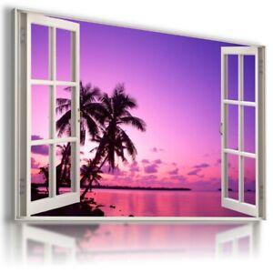 CARIBBEAN ISLAND HOLIDAY 3D Window Canvas Wall Art Picture W317 NOFRAME MATAGA .