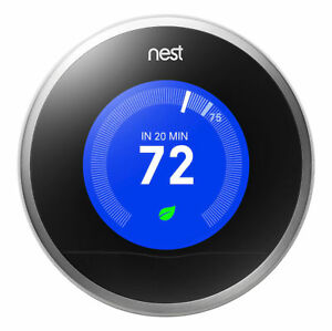 Nest 2nd Generation Learning Silver Programmable Thermostat - No Wall Plate
