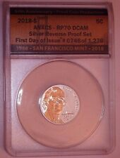2018-S Jefferson Nickel ANACS SILVER REVERSE PROOF RP70 First Day Of Issue