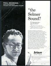 1959 Selmer Mark VI saxophone Paul Desmond photo vintage print ad