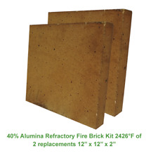 40% Alumina Refractory Fire Brick Kit 2426°F of 2 replacements 12'' x 12'' x 2''