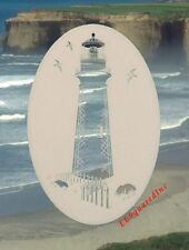 New Oval 21x33 LIGHTHOUSE Etched Glass Window Decal Vinyl Cling Tropical Decor