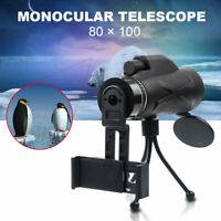 80X100 HD Zoom Lens Prism Hiking Monocular Telescope+Universal Phone Clip+Tripod