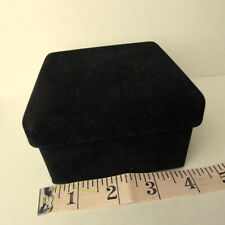 Jewelry box black velvet travel size keepsake trinkets vintage
