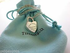 Return to Tiffany & Co. Sterling Silver Blue Enamel Heart Padlock Charm Necklace
