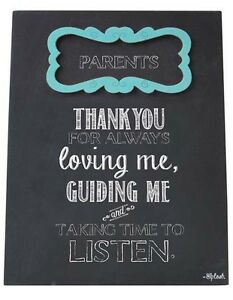 Parents Sign Plaque Mum and Dad Thank You For Loving Me Taking Time To Listen